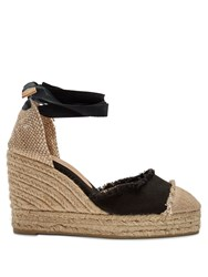 Castaner Catalina Canvas Wedge Espadrilles Black Beige