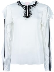 Giamba Ruffle Sleeve Blouse White
