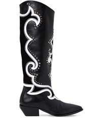 Elena Iachi 40Mm Studded Leather Tall Cowboy Boots Black White