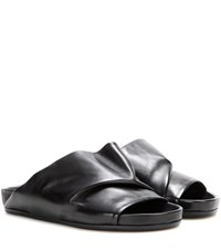 Rick Owens Leather Slip On Sandals Black