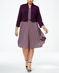 Jessica Howard Plus Size Belted Fit And Flare Dress And Jacket Dark Purple