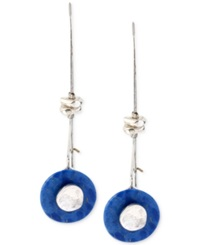 Robert Lee Morris Soho Silver Tone Semi Precious Blue Bead Wire Drop Earrings