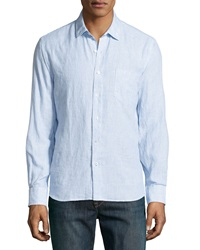 Neiman Marcus Linen Washed Stripe Shirt Sailor