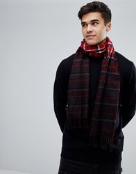New Look Dip Dyed Check Scarf In Red Red Pattern