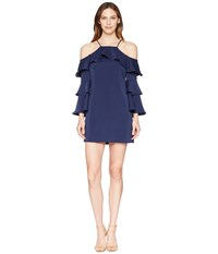 Laundry By Shelli Segal Cold Shoulder Dress With Tiered Sleeves Midnight Navy