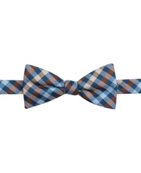 Countess Mara Multi Gingham Pre Tied Bow Tie Brown
