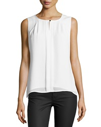 Laundry By Shelli Segal Pleated Sleeveless Blouse Pearl