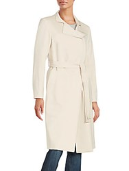 Cinzia Rocca Soft Wool Blend Trench Coat Sand
