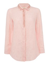 Max Mara Mirto Long Sleeve Tonal Stripe Embellished Shirt Coral