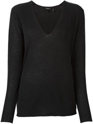 Theory V Neck Fine Knit Jumper Green