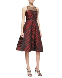 Pamella Roland Sleeveless Animal Print Midi Dress Black Ruby Zebra