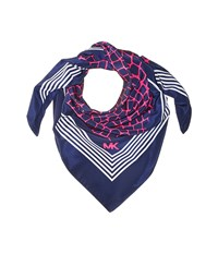 Michael Michael Kors Nyla Crocodile Square True Navy Pink White Scarves Blue