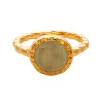 Carousel Jewels Chalcedony Gold Textured Ring Neutrals