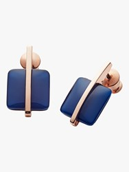 Skagen Seaglass Drop Earrings Rose Gold Blue Skj1136791