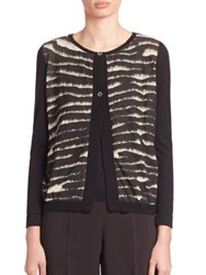 Piazza Sempione Cashmere And Silk Tie Dye Cardigan Black Ivory