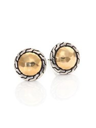 John Hardy Classic Chain 18K Yellow Gold And Sterling Silver Stud Earrings Silver Gold