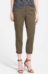 Petite Women's Caslon Chino Crop Pants Olive Tuscan