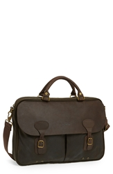 Barbour Waxed Canvas Briefcase Olive Brown