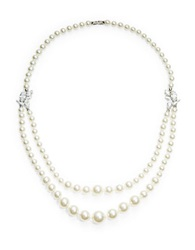 Nadri Cubic Zircona Double Strand Faux Pearl Necklace Pearl Silver