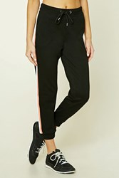 Forever 21 Active Drawstring Sweatpants Black Salmon