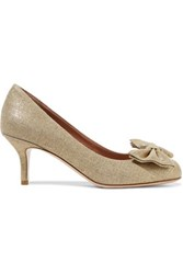 Red Valentino Redvalentino Metallic Bow Embellished Canvas Pumps Beige