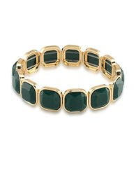 1St And Gorgeous Faceted Cabochon Stretch Bracelet Gold