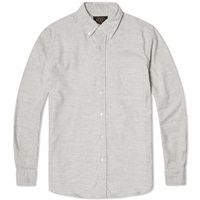 Beams Plus Button Down Solid Flannel Shirt Light Grey