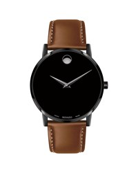 Movado 40Mm Ultra Slim Pvd Watch With Leather Strap And Black Museum Dial Brown