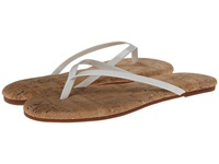 Yosi Samra Roee Two Tone Flip Flop W Patent Leather Strap Cork Footbed White Women's Sandals