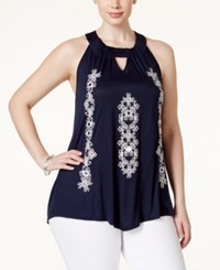 Inc International Concepts Plus Size Embroidered Halter Top Only At Macy's Deep Twilight