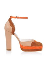Terry De Havilland Lily Suede Rust Platform Sandals Multi Orange