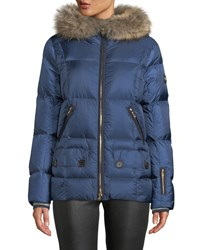 Bogner Fire And Ice Miri Puffer Coat W Removable Fur Trim Blue