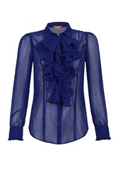 Jolie Moi Plain Chiffon Ruffle Shirt Royal Blue