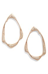 Kendra Scott Women's Livi Frontal Hoop Earrings White Cz Rose Gold
