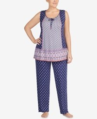 Ellen Tracy Plus Size Contrast Tassel Jersey Pajama Set White Blue
