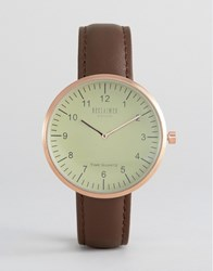 Reclaimed Vintage Dome Leather Watch In Brown Brown