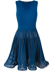 Antonino Valenti Fit And Flare Dress Women Silk Polyester Viscose 44 Blue