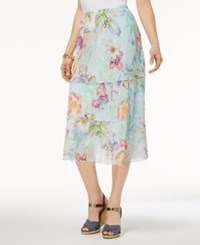 Alfred Dunner Petite Roman Holiday Tiered Floral Print Skirt Mint