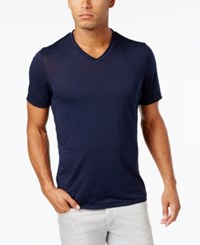 Inc International Concepts Men's Distressed V Neck Cotton T Shirt Only At Macy's Basic Navy