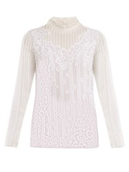 Valentino High Neck Chantilly Lace Blouse White