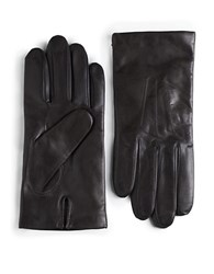 Black Brown Cashmere Lined Leather Gloves Brown