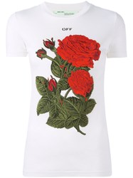 Off White Roses Patch T Shirt White
