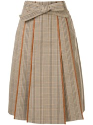 Tory Burch Plaid Print Pleated Skirt Brown