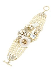 Miriam Haskell Vintage Pearl White Flower Crystal And Faux Pearl Statement Bracelet