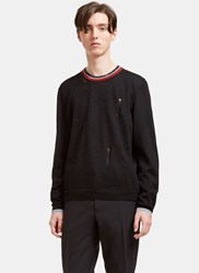 Lanvin Destroyed Striped Crew Neck Sweater Black