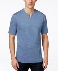 Weatherproof Short Sleeve Indigo Striped Henley
