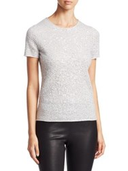 Saks Fifth Avenue Collection Sequin Cashmere T Shirt Pale Grey Ebony Ivory Frost