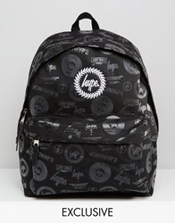 Hype Exclusive All Over Logo Backpack Black Logos
