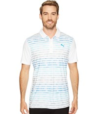 Puma Road Map Polo Bright White Bluefish Men's Short Sleeve Knit