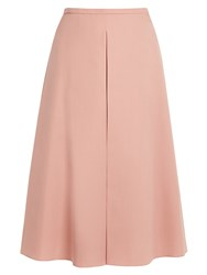 Rochas Inverted Pleat A Line Wool Skirt Pink